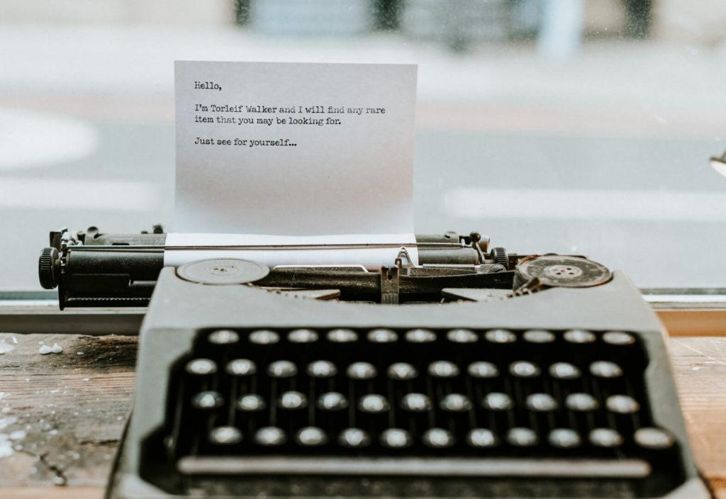 Torleif Walker - One Stone World - Find antique typewriter - 1572x1080